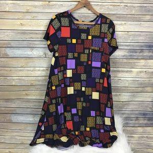 LuLaRoe Carly Dress Block Artsy Print Large